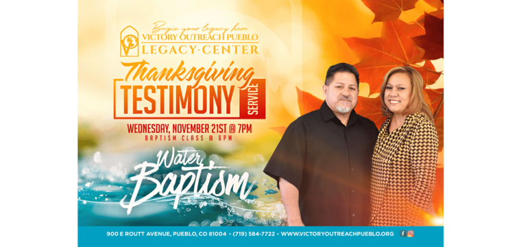 Thanksgiving Service & Water Baptism – Nov. 21st